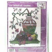 Jeanette Crews Cross Stitch Kit  Oriental Vase New 294780VK Vase Cranes Fruit