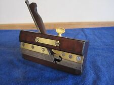 Antique Vintage Rosew00d Steel & Brass Screw Arm Plow Woodworking Plane & Tool