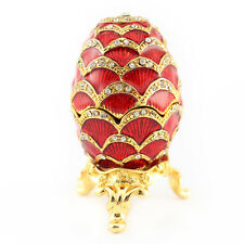 Red Faberge Egg Jewelry Trinket Box Decoration Present Cute Gift Collect 02025A