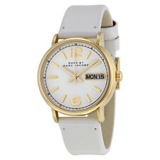 Marc by Marc Jacobs Fergus White Dial White Leather Ladies Watch MBM8653