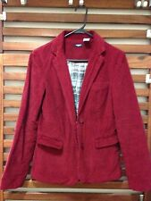 Vintage Maroon Corduroy Blazer With Gray Patch Sleeves. Plaid Inside. US 4. UK 6