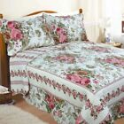 Double Bed Antoinette Multi Floral Quilted Bedspread Cream Pink 240cm x 260cm