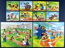 Grenada 1986 Disney AMERIPEX Baseball 1471-78 + Block 158-159 Postfrisch MNH