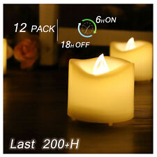 6 Votive Candles Flickering Battery Operated Flameless LED Tea Lights with Timer