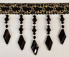 5 Yards Beaded FRINGE Trim for DRAPERY and UPHOLSTERY in Black / Gold color