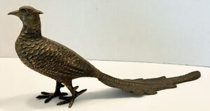 """Antique Vintage Beautifully Detailed Bronze PHEASANT BIRD Statue 15""""Long, 7""""Tall"""