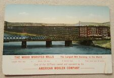 Vintage Antique Postcard Advertising Wood Worsted Mills trade card