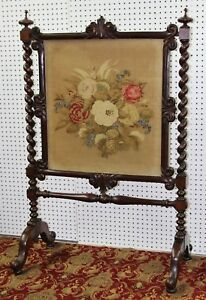 Antique Country French Barley Twist Needlepoint Tapestry Fire Screen Circa 1860