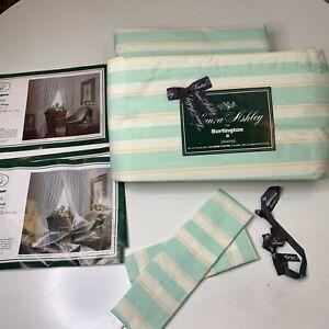 Laura Ashley for Burlington drapes NWTs curtain panel 4 green striped no iron