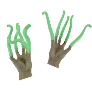 Ten Green Sea Monster Octopus Squid Kraken Cosplay Finger Puppet Alien Tentacles