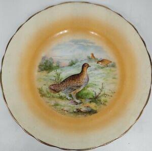 Vintage C. P. & Co Bavaria Porcelain Plate with Quail Decorative Plate Gold Trim