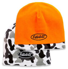 Peterbilt Trucks Reversible Hunter Orange & Snow Camo Winter Beanie Cap