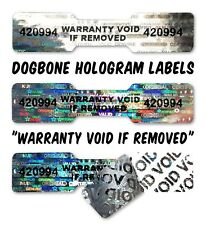 120x DOGBONE Security Hologram Stickers NUMBERED, 45mm x 10mm, Warranty Labels