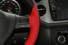 """14.5"""" Racing Black & Red Steering Wheel Cover Wrap PVC Leather 47019 Coupe Sedan"""