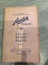 Austin Twelve List Of Spare Parts