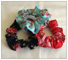 Pack 3 Hair Scrunchies Floral Roses Vintage Fabric Elastic Band Ponytail Tie Red