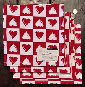 """NWT Set of 4 Red & White Heart 100% Cotton Napkins 18""""x18"""" ❤️ Valentines Day"""