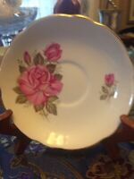 Vintage Royal Ascot bone china made in England Pink Rose Saucer - EXC