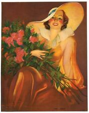 "Roses by Laurette Patten 1930s Glamour Girl art deco print 7.5"" x 9.75""  Ӝ"