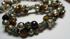 STERLING SILVER VINTAGE TIGERS EYE FLUTED SCROLL FACETED BEAD 17-18 IN NECKLACE