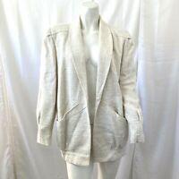 Vintage Michelle Stuart Beige Textured Womens Open Front Blazer Size Medium