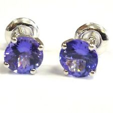 2.50Ct Round Tanzanite Claw Set Stud Earring in 18k White Gold