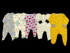 Baby Boy Newborn 0-3 Months Cotton Zip Up Footed Sleeper Pajama Clothes Lot