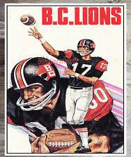 Vintage CFL BC Lions  Color Poster Print 8 X 10 Photo Picture