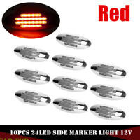 10 x Red Thin Side Marker Lights Clearance 24 LED Chrome For Freightliner 12V