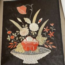 More details for antique embroidery 1890s victorian 19th century silk floral red mounted 1900s