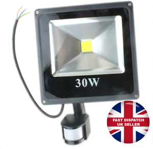 LED Floodlight PIR 30W Motion Sensor Outdoor Flood Lights Day White