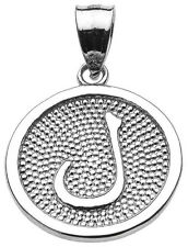 "14k White Gold Arabic Letter ""laam"" L Initial Charm Pendant"