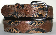 Brown Ostrich & Taupe Python Skin Belt size 24 to 48 Optional Buckles