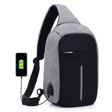 Chest Bag Casual Shoulder Bag Reflective Leisure Bags With USB Charger Inlet