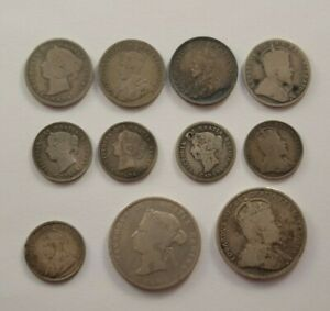 Lot of 11 Small Silver Canadian Coins (1850s to early 1900s)