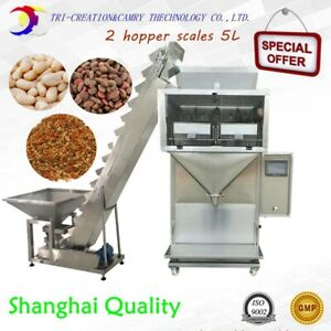 semi auto granule filling machine with elevator,2 hopper scales weigher 2kg,suga