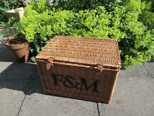 Large used wicker gift storage hamper basket box F&M to front