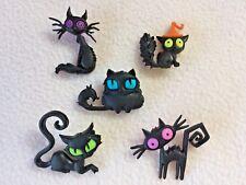 Dress It Up Botones ~ ~ Gatos aterrada fuera Halloween Collection ~ 5 espeluznante Gatos