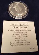 RARE 2001 Isola Di Ascensione Regina Elisabetta II 75th Compleanno .925 MONETA D'ARGENTO 50p
