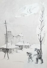 Vintage ink drawing winter landscape cityscape
