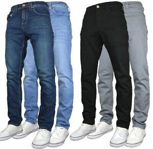 KAM Mens Stretch Regular Fit Straight Leg Jeans/Chinos
