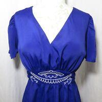 MOdcloth Pinup Retro M Cobalt Blue Dress Belted Embroidered Waist