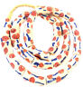 Ghana Handmade Off White Floral Multi Krobo recycled Glass African trade Beads