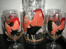 Hand Painted Water Pitcher /4 Ice Tea Leghorn Rooster