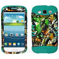 Teal Green Oak Tree Camo Impact Hybrid Hard Cover Case Samsung Galaxy S 3 III S3