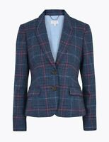 MARKS AND SPENCER PER UNA PURE WOOL CHECKED HACKING JACKET SIZE 6 RRP £89 BNWT