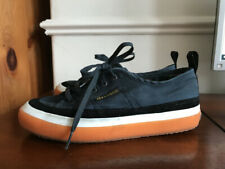 Superga 2750 Trainers With Gum Sole Navy Cotton & Black Suede. Size 37.5 Uk 4.5