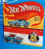 Hot Wheels 2018 50th Anniversary Originals 3/5 '67 Camaro Blue w/ Button