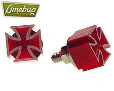 Mooneyes Rojo Hierro Cruz Par Pernos de matrícula VW Escarabajo Bus MOTO HOTROD