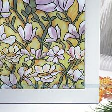 1.5M Orchid Privacy Stained Glass One Side Static Cling Window Film Home Decor